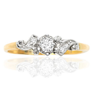 Floral... Original Art Deco Diamond Engagement ring -0