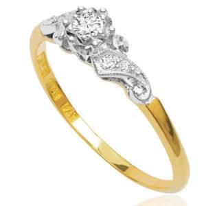 Floral... Original Art Deco Diamond Engagement ring -3448