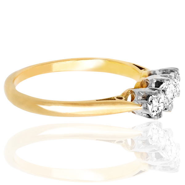 Dazzling... Original Art Deco Diamond 'Trilogy' ring -3490