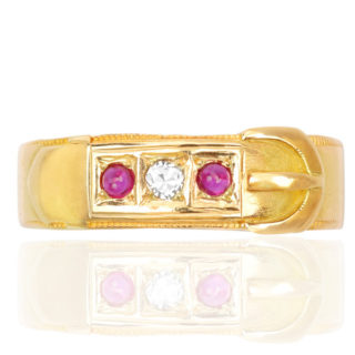 Antique Ruby and Diamond Buckle ring -0