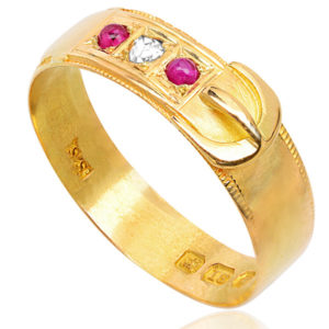 Antique Ruby and Diamond Buckle ring -3470