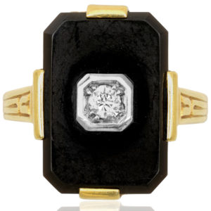 Roaring 20s... Original Art Deco Onyx and Diamond ring -0