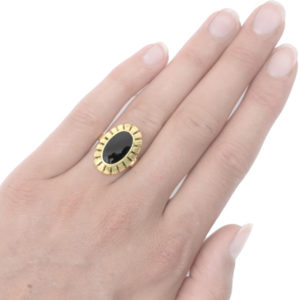 Bold and Beautiful... Original 1940s Onyx ring-3481