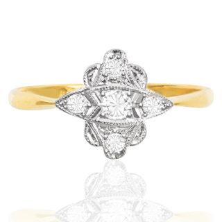 ***SOLD*** So Chic... Original Art Deco Diamond Plaque ring -0