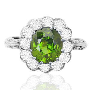 Spectacular... Rare Chrysoberyl and Diamond ring -3510
