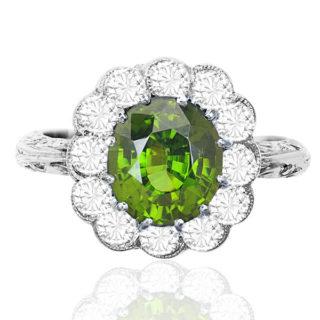 Spectacular... Rare Chrysoberyl and Diamond ring -3510