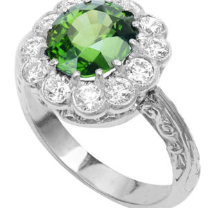 Spectacular... Rare Chrysoberyl and Diamond ring -0