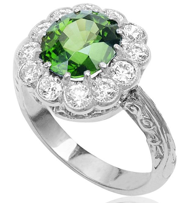 Spectacular... Rare Chrysoberyl and Diamond ring -0