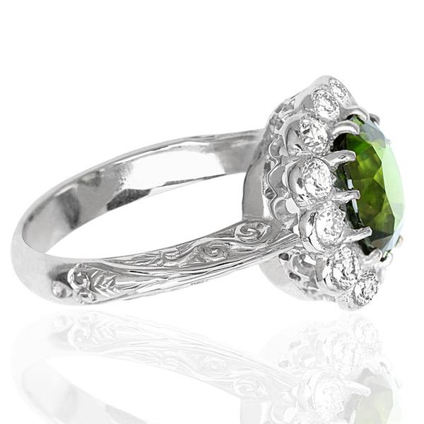 Spectacular... Rare Chrysoberyl and Diamond ring -3512