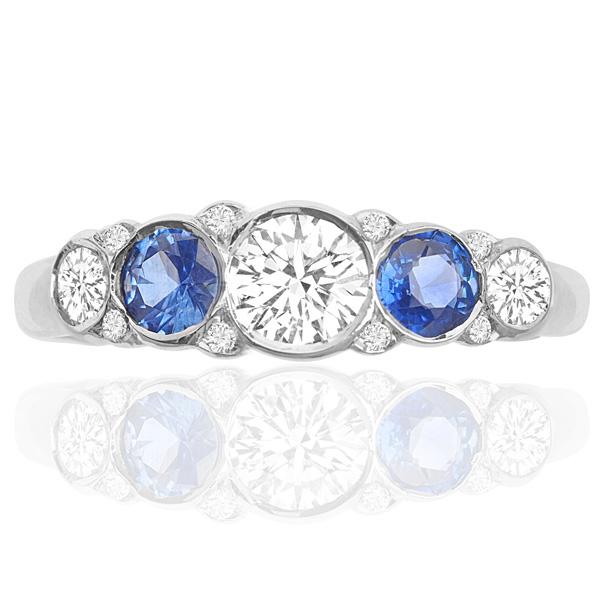 Divine... Handmade Sapphire and Diamond ring -0