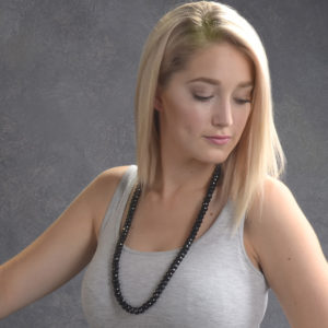 Striking... Long Onyx Necklace-0