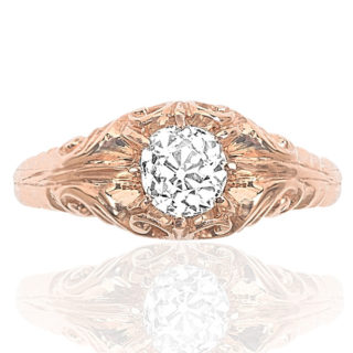 Rose Gold Solitaire Diamond ring -3534
