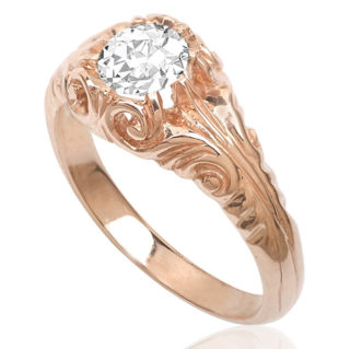 Rose Gold Solitaire Diamond ring -0