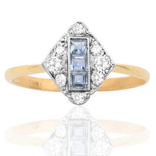 Deco Dazzle... Original 1920s Sapphire and Diamond ring -0