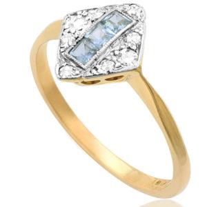 Deco Dazzle... Original 1920s Sapphire and Diamond ring -3586