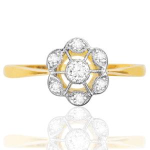 Original Art Deco Diamond 'Target' Daisy ring -0