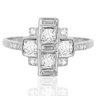 ***SOLD*** Picasso... Original Art Deco Diamond Plaque ring -0