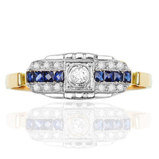 Ooh La La.... Art Deco French Sapphire and Diamond ring -0