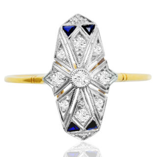 Work of Art... Original French Art Deco Sapphire and Diamond ring -0