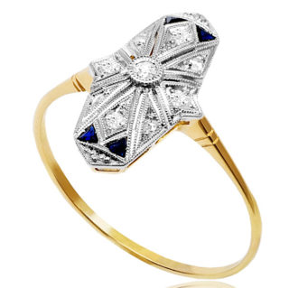 Work of Art... Original French Art Deco Sapphire and Diamond ring -3676
