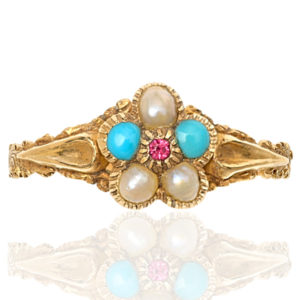 Perfect Pansy... Victorian Pearl, Turquoise and Ruby ring -0