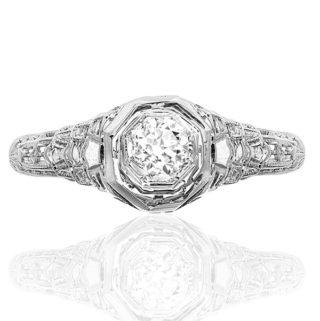 Love Me Do... Original Art Deco Diamond ring -0