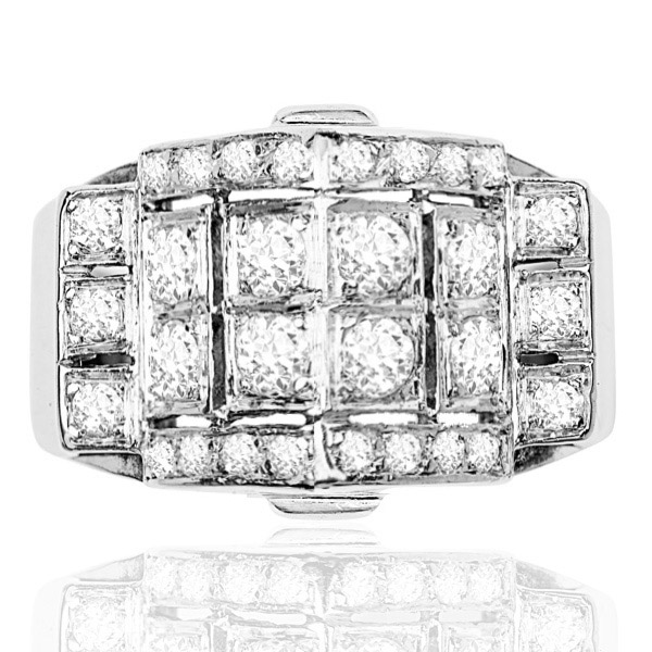 Decadent... French Retro Platinum Diamond ring -0