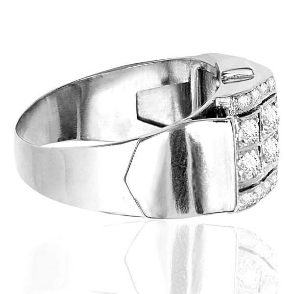 Decadent... French Retro Platinum Diamond ring -3654
