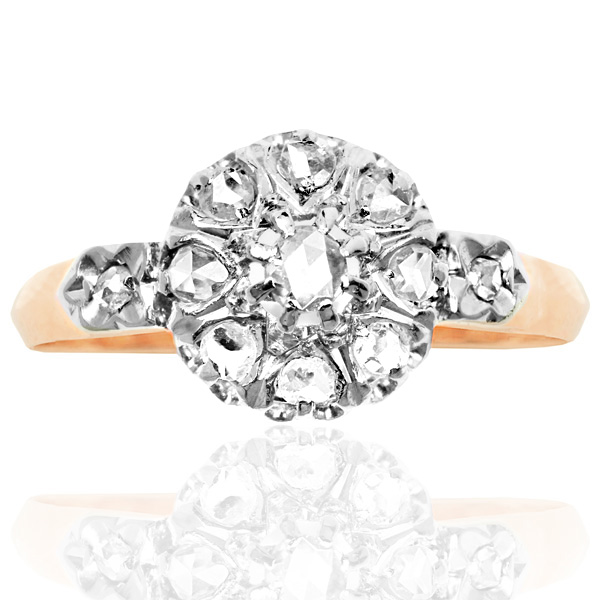 French Fleur... Original Art Nouveau Diamond Daisy ring -0
