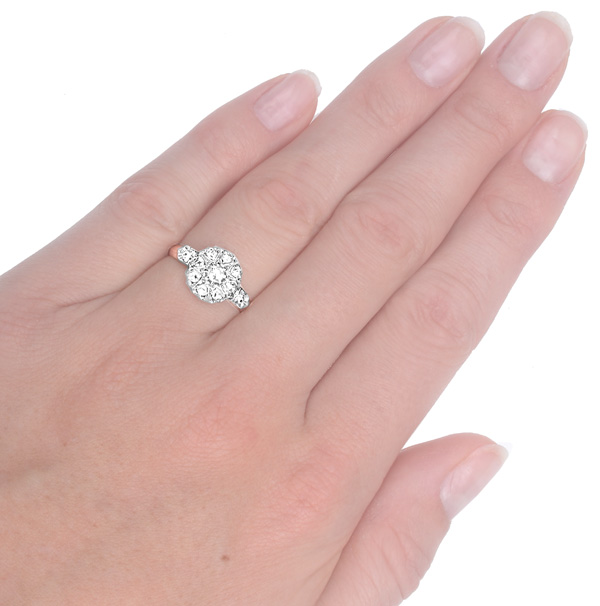 French Fleur... Original Art Nouveau Diamond Daisy ring -3702