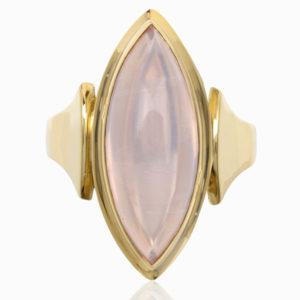 Absolutely FAB... Original Art Deco Rose Quartz ring -0