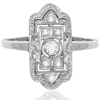 ***SOLD*** Miss Fisher... Original Art Deco Diamond plaque ring -0