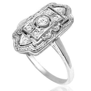***SOLD*** Miss Fisher... Original Art Deco Diamond plaque ring -3640