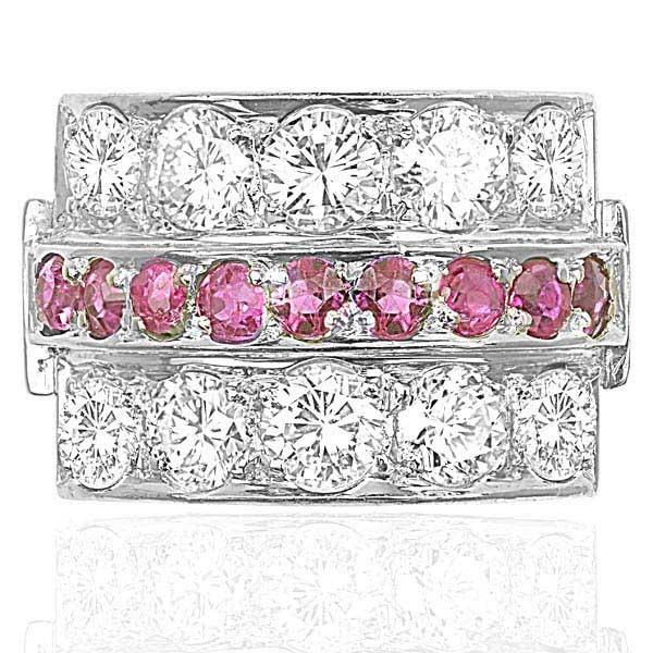 Platinum... 1940s Ruby and Diamond ring -3628