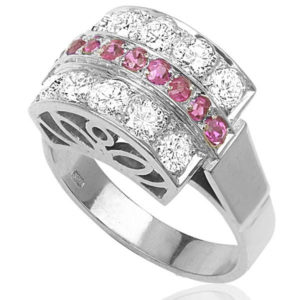 Platinum... 1940s Ruby and Diamond ring -0