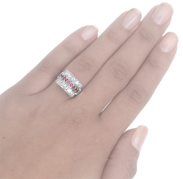 Platinum... 1940s Ruby and Diamond ring -3629