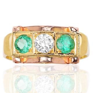 Retro 1940s Emerald and Diamond ring -3656