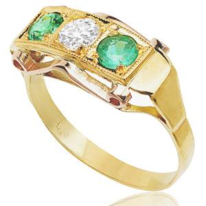 Retro 1940s Emerald and Diamond ring -0