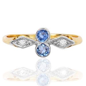 Original Art Deco Sapphire and Diamond ring -0