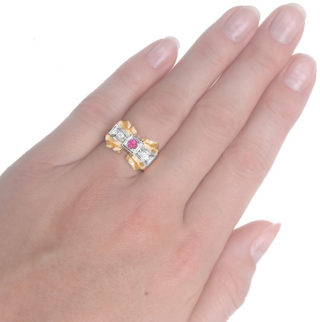Showstopper... Retro Ruby and Diamond ring-3735