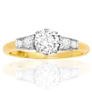 Together Forever... Original Art Deco Diamond Engagement ring -0