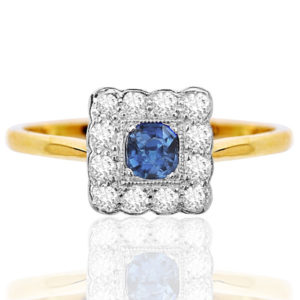 Summer time... Original Art Deco Sapphire and Diamond ring -0