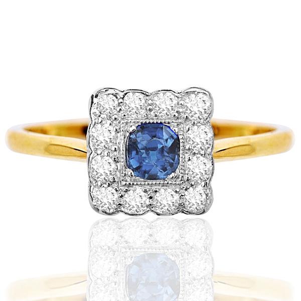 Summer time... Original Art Deco Sapphire and Diamond ring -0