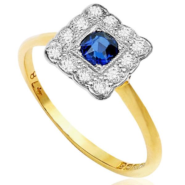 Summer time... Original Art Deco Sapphire and Diamond ring -3721