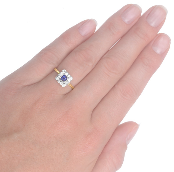 Summer time... Original Art Deco Sapphire and Diamond ring -3722