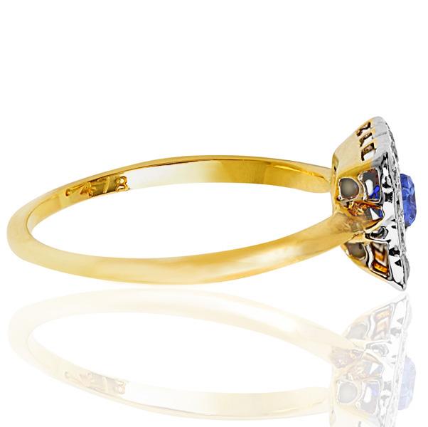 Summer time... Original Art Deco Sapphire and Diamond ring -3723