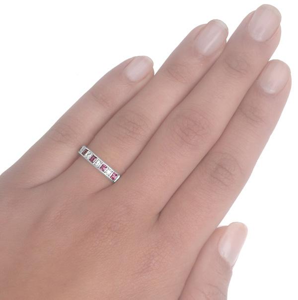 Original Art Deco Ruby and Diamond ring -3726