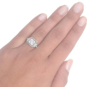 French Star... Original Art Deco Diamond ring -3616