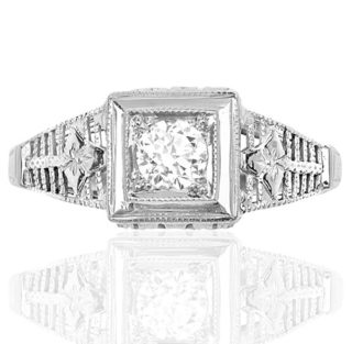 New York... Original 1920s Diamond Engagement ring -0