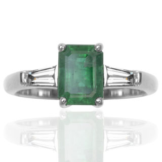 Green with Envy... Handmade Platinum Emerald and Diamond ring -0
